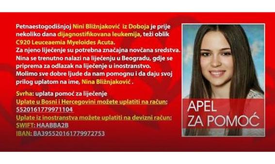 APEL ZA POMOĆ: Nina Bližnjaković iz Doboja boluje od leukemije