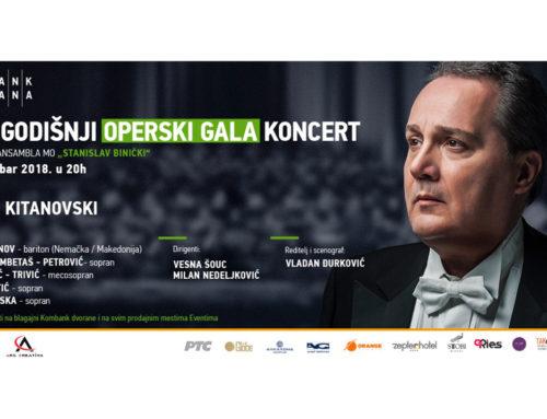 """Novogodišnji operski gala koncert umetničkog ansambla ,,Stanislav Binički"""" 28.decembra u Kombank dvorani"""
