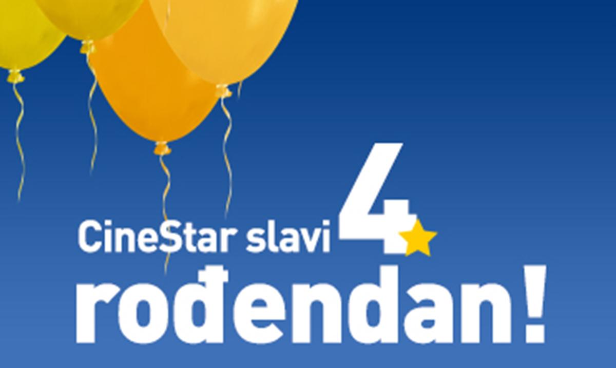 Proslavi 4. rođendan bioskopa CineStar  i 25. 2. gledaj filmske hitove za samo 160 dinara