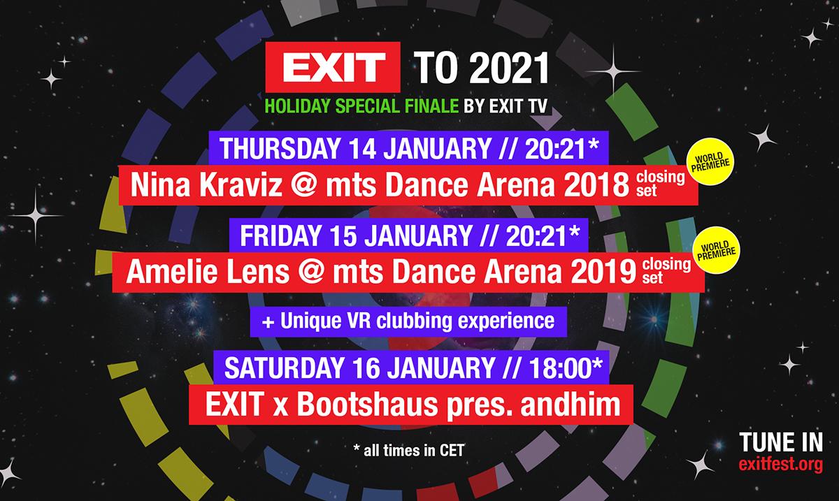 Svetske premijere nastupa tehno kraljica Nine Kraviz i Amelie Lens 14. i 15. januara na EXIT TV